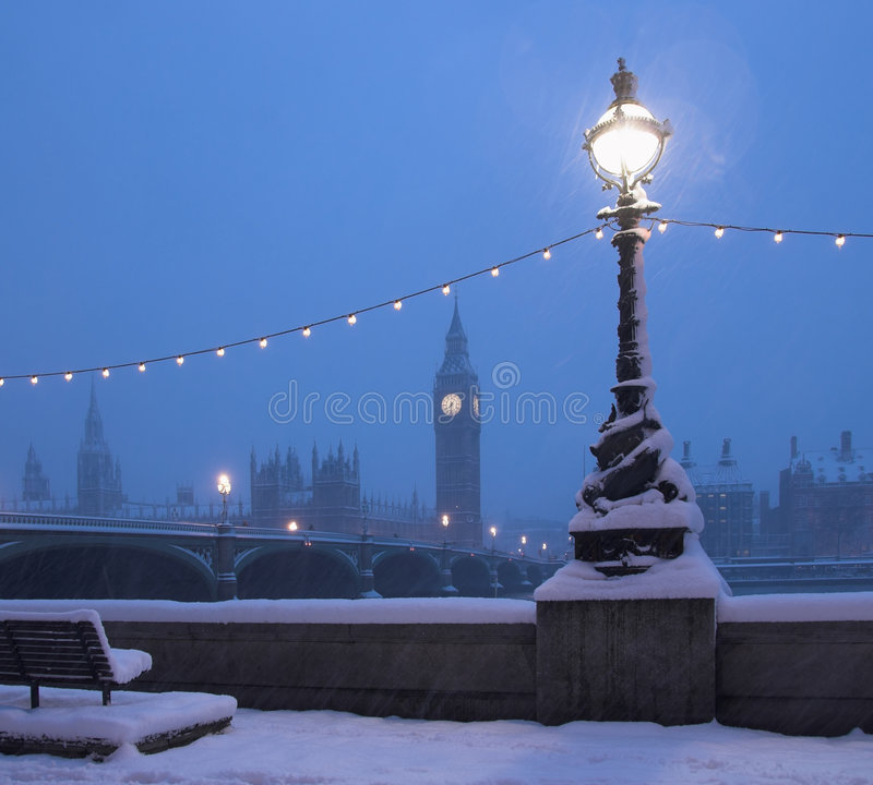 snow för london platshorisont arkivbild
