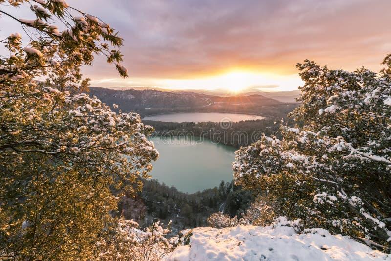 Snow& x28; f& x29; lagos foto de archivo
