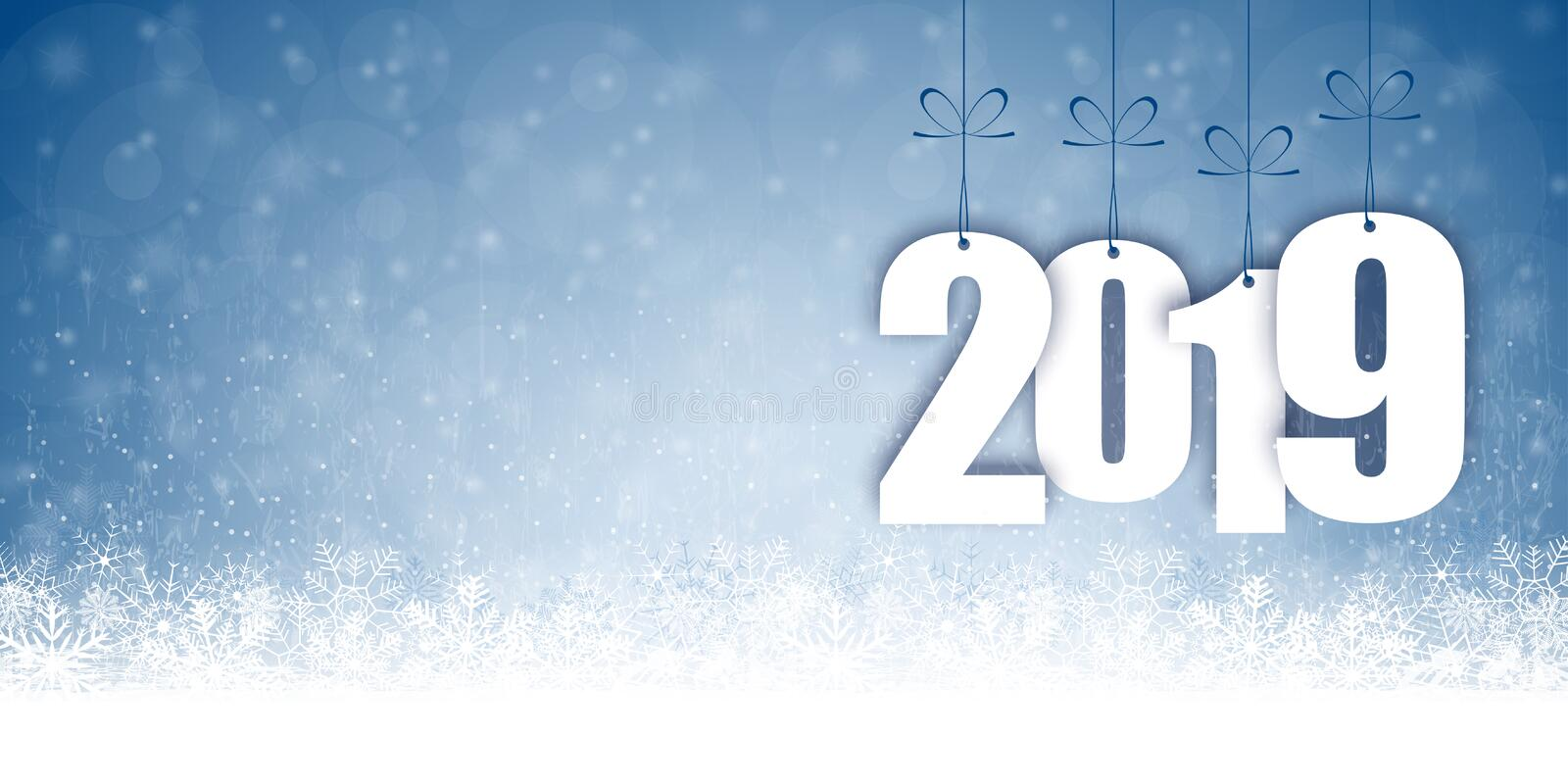 Snow fall background for christmas and New Year 2019. Background with snow fall and greetings for christmas and New Year 2019 stock illustration