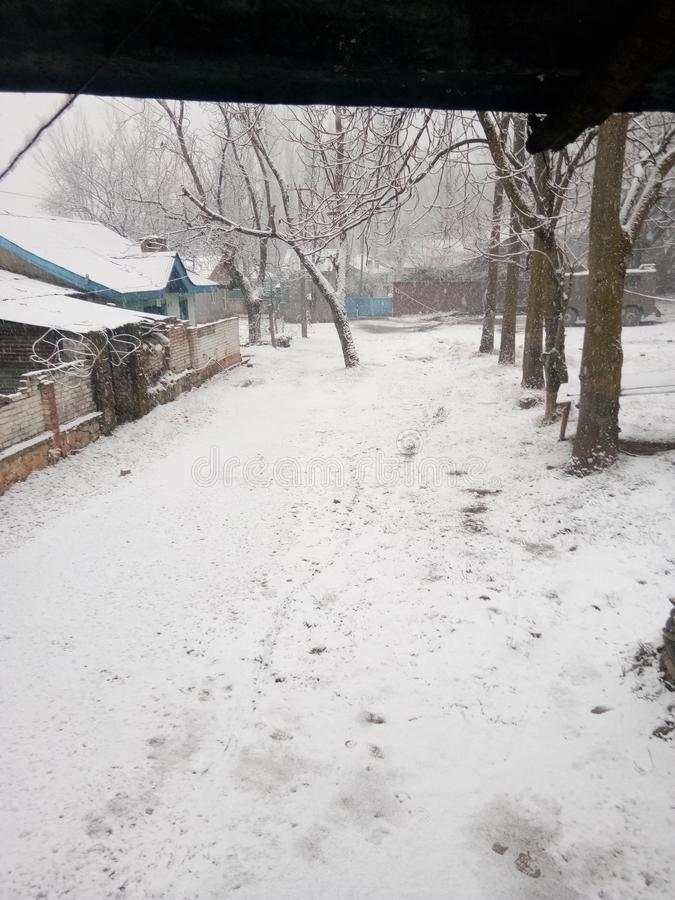 Snow fall in jammu india stock photography