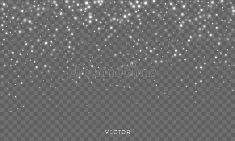 Snow fall, vector shiny snowflakes overlay background, Christmas snowfall flakes and winter glitter ice frost shine royalty free illustration