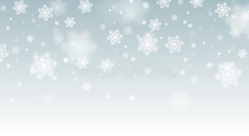 Snow falling background. Vector magic Christmas eve snowfall. White glitter snowflakes falling down. royalty free illustration