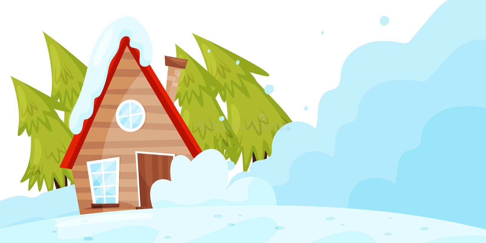 Snow falling down on living house. Avalanche disaster. Winter landscape. Natural catastrophe. Flat vector design royalty free illustration