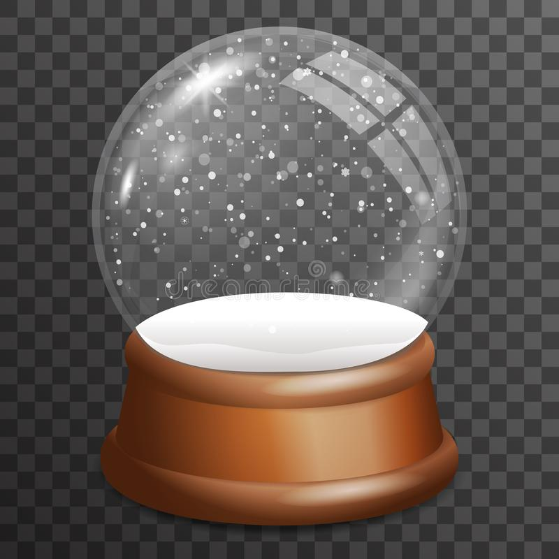 Snow falling glass ball highlight wooden stand 3d realistic transparent background template vector illustration stock illustration