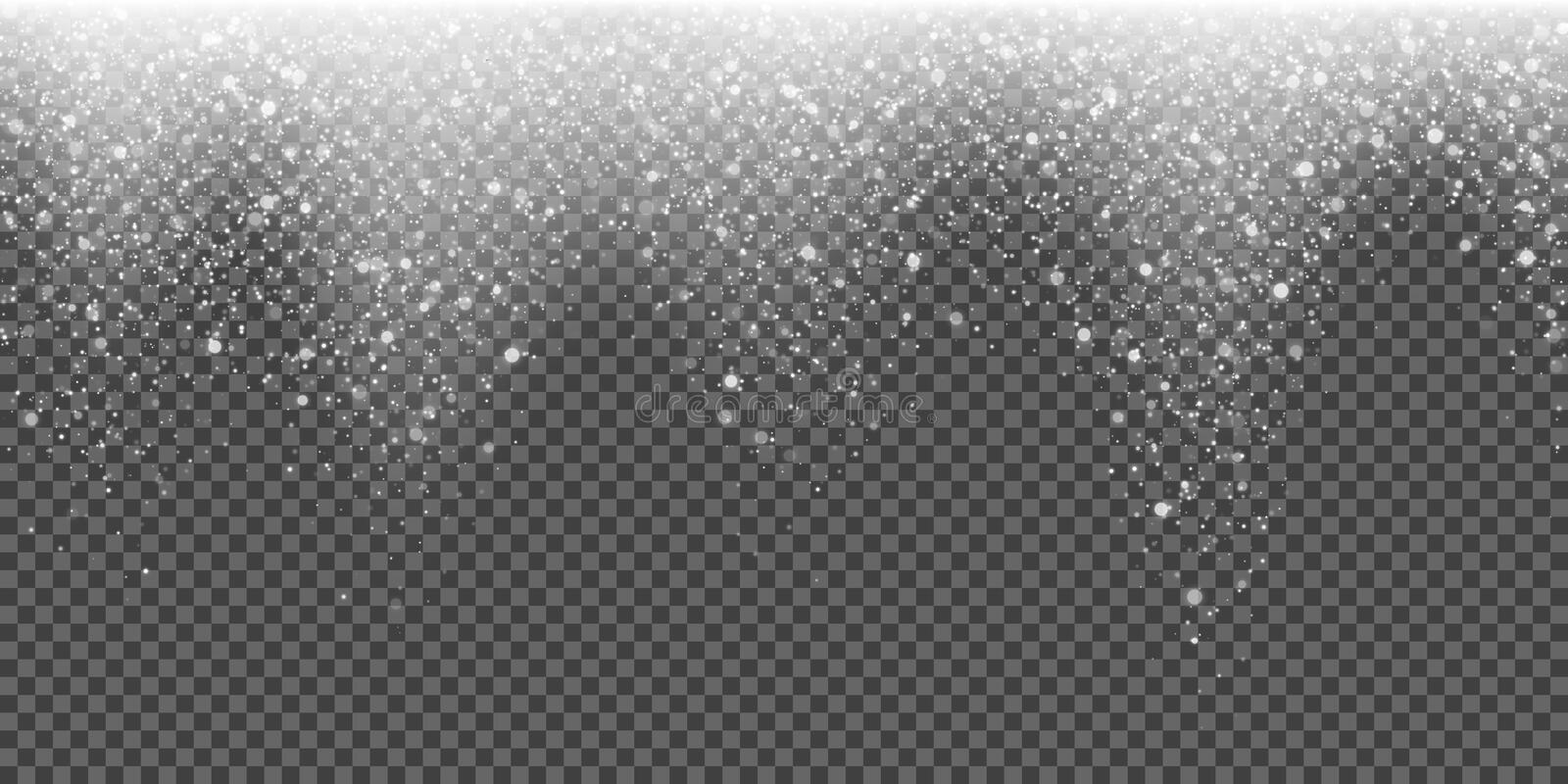 Snow falling glittering snowflake light vector winter glitter particles Christmas sparkling background stock illustration