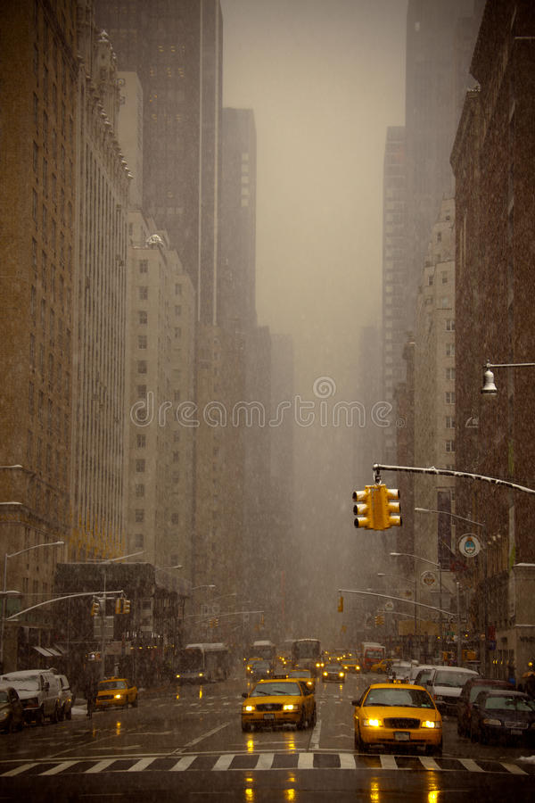 Snow falling in New York stock photo