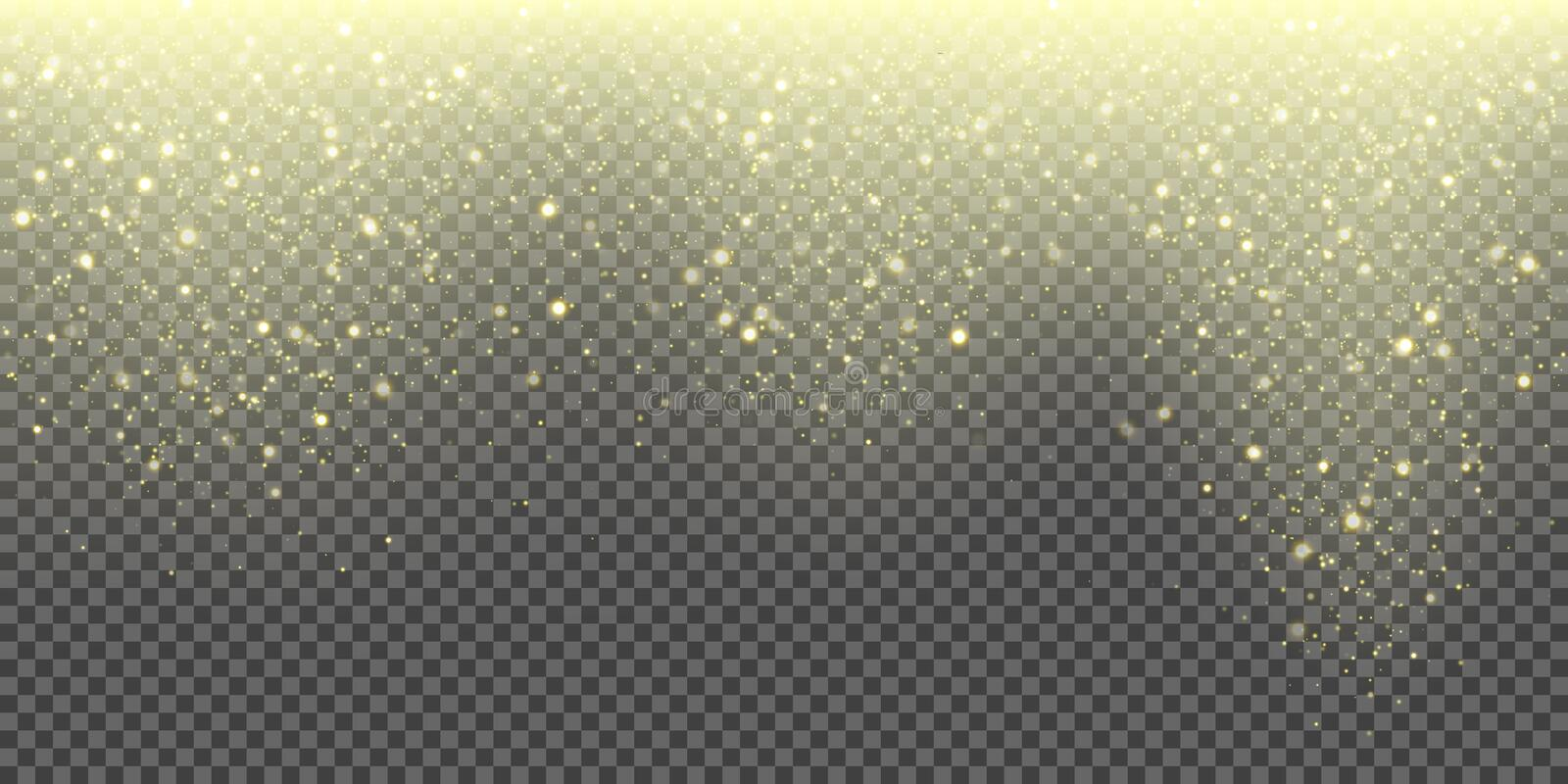 Snow falling vector background of golden sparkling snowfall and glittering snowflakes. Vector abstract glowing gold glitter. Particles pattern background for royalty free illustration