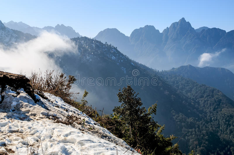Snow falls in Sapa, Vietnam stock image