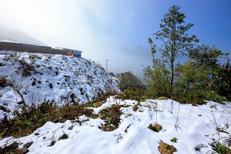 Snow falls in Sapa, Vietnam stock photos