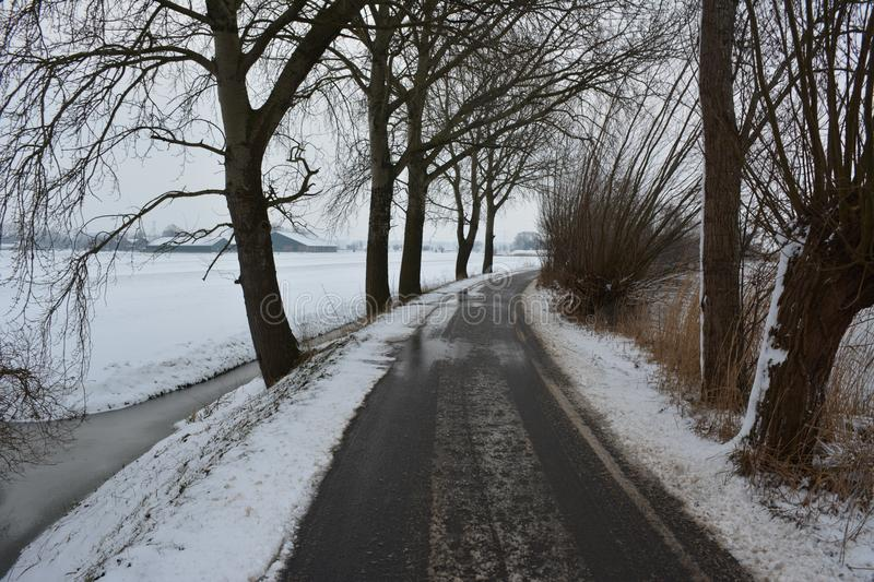 Snow in February. In the Netherlands stock photo