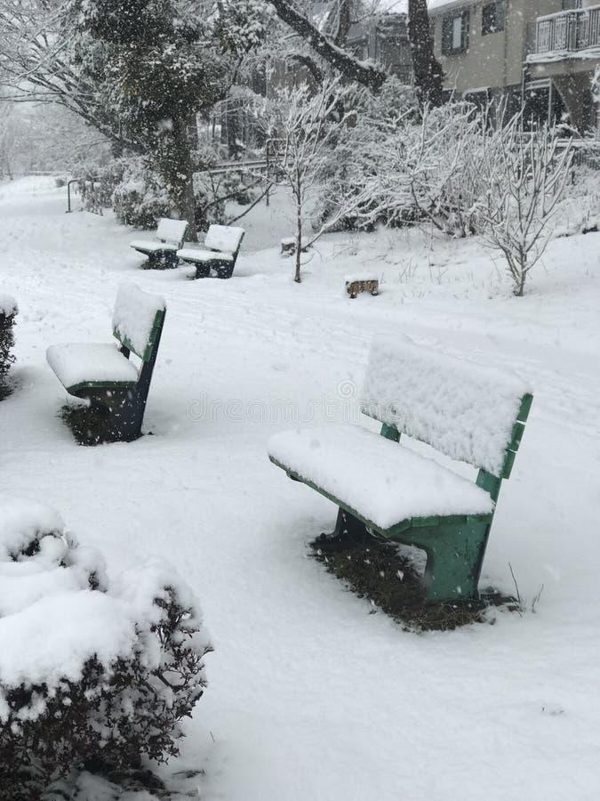 Snow of Hachioji city in japan stock photos