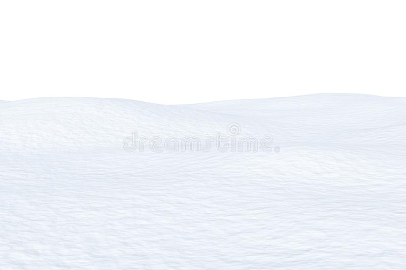 Snow field with smooth surface isolated. White snow field with smooth snow surface isolated on white background, 3d illustration royalty free illustration