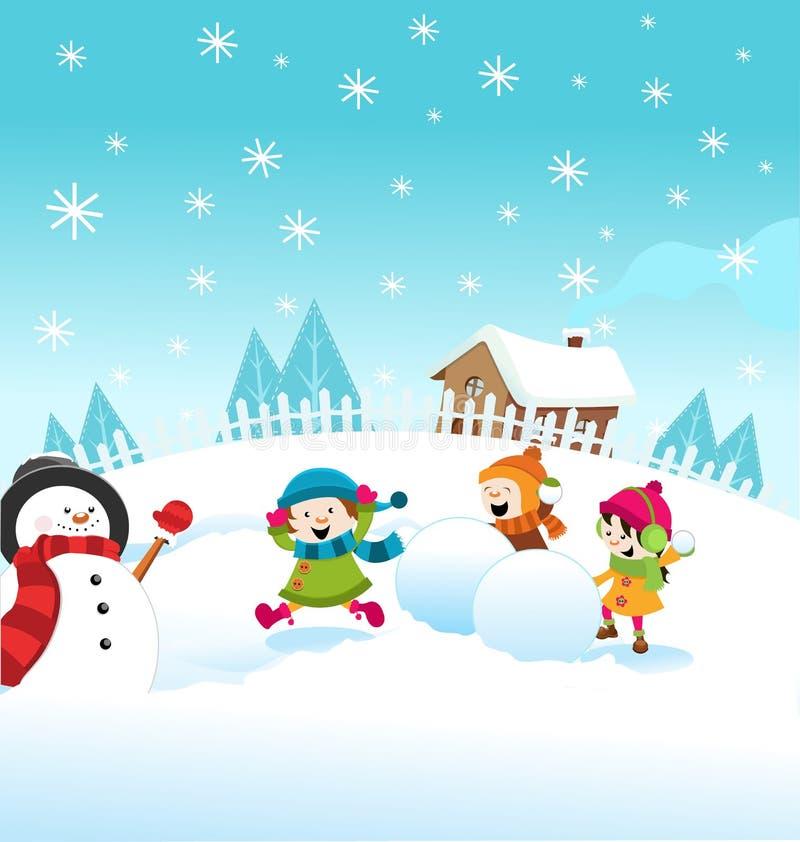 Snow Fight stock illustration