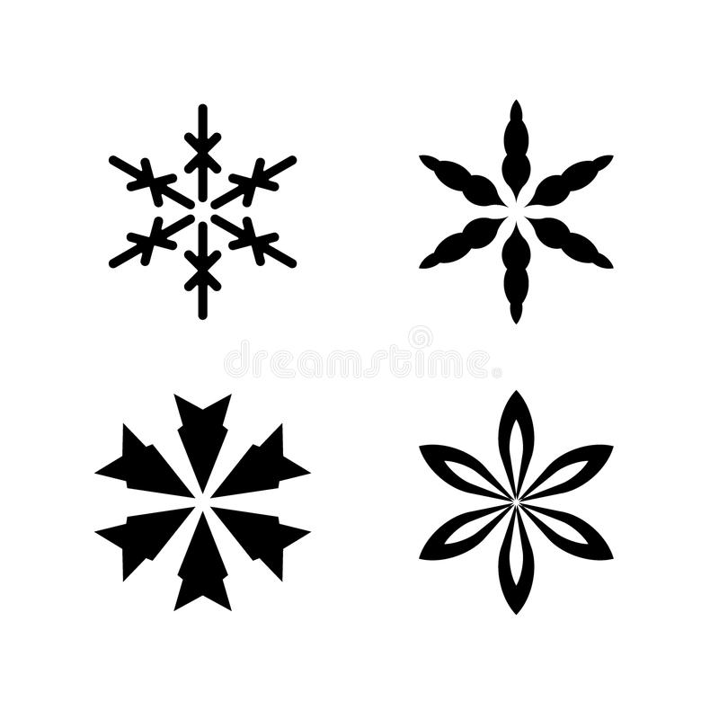 Snow flake isolated vector. Black on white royalty free illustration