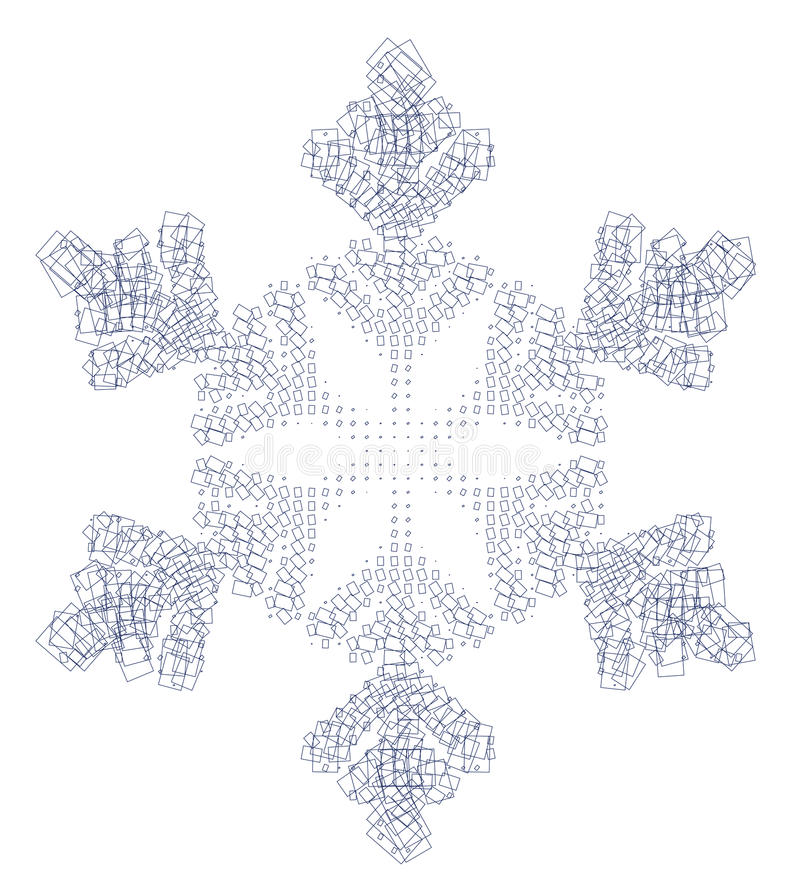 Snow flake and squares royalty free stock photography