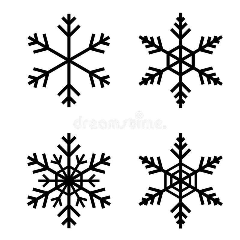 Snow flake vector. Illustration with solid black, easy to edit royalty free illustration