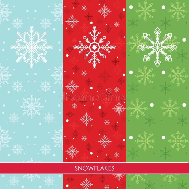 Snow Flakes Set Three Colors Background royalty free illustration