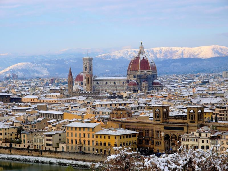 Snow in Florence royalty free stock photos