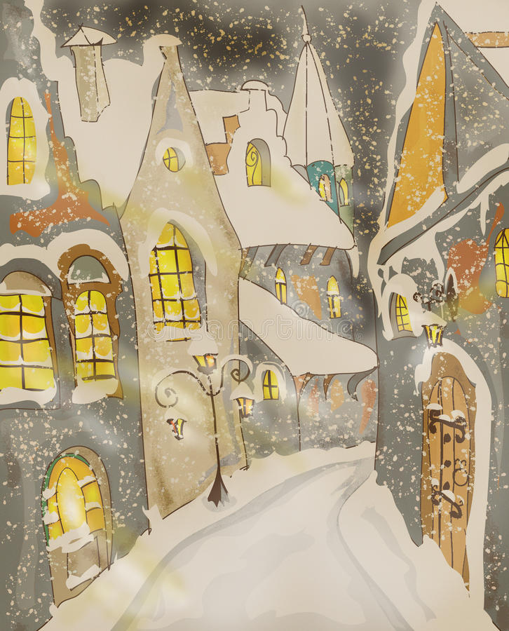 Snow foggy Town Christmas Greeting card vector illustration