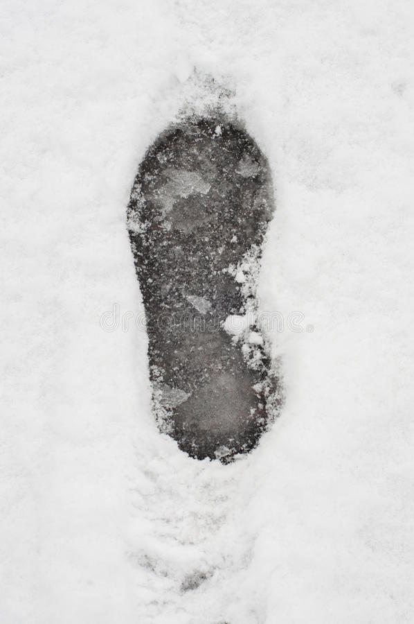 Snow footprint royalty free stock photography