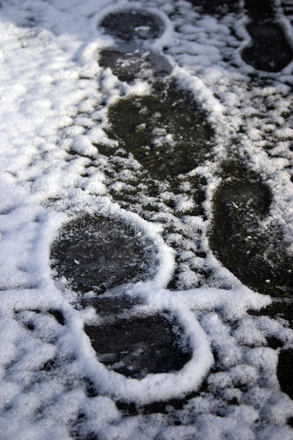 Snow footprints royalty free stock images