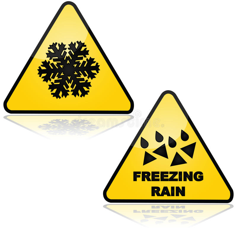 Snow and freezing rain. Traffic signs showing warnings for snow and freezing rain stock illustration