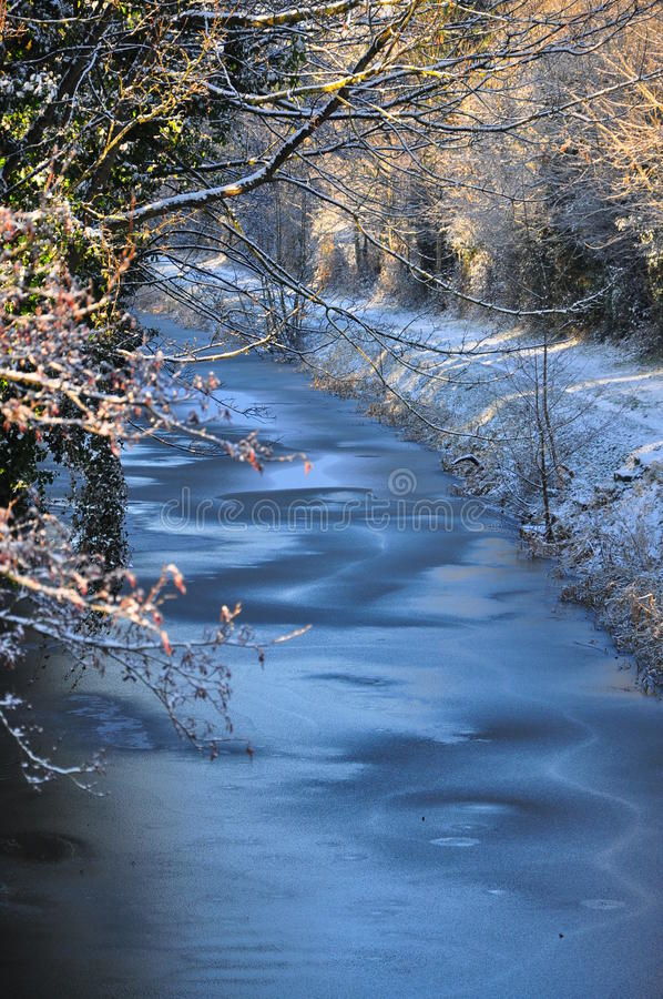 Snow and frost on the Royal Canal stock photos
