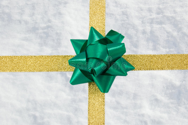 Download Snow Gift With Golden Ribbon Stock Image - Image: 7246495