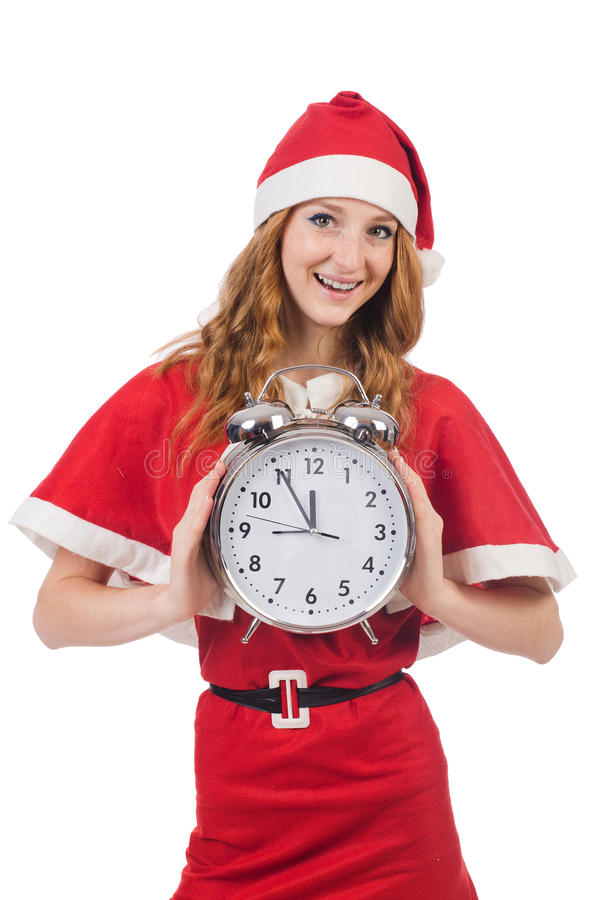 Download Snow girl with clock stock image. Image of costume, claus - 34469067