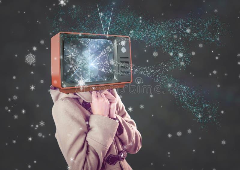 Snow girl, tv head. Digital composite of Snow girl, tv head vector illustration