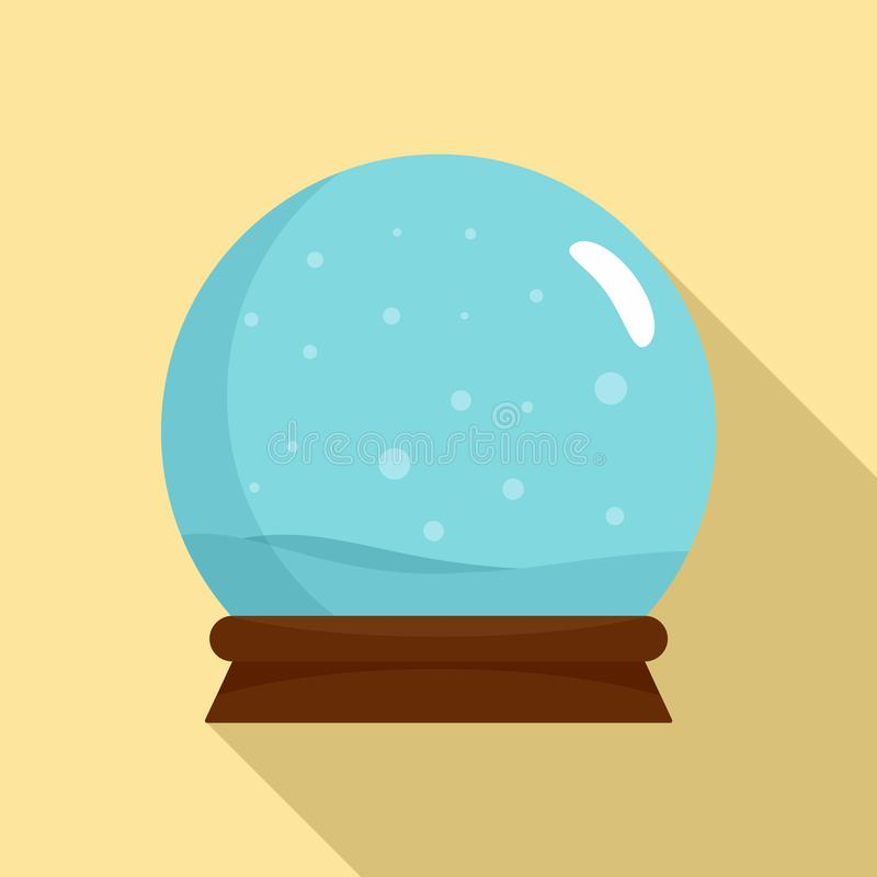 Snow glass ball icon, flat style stock illustration