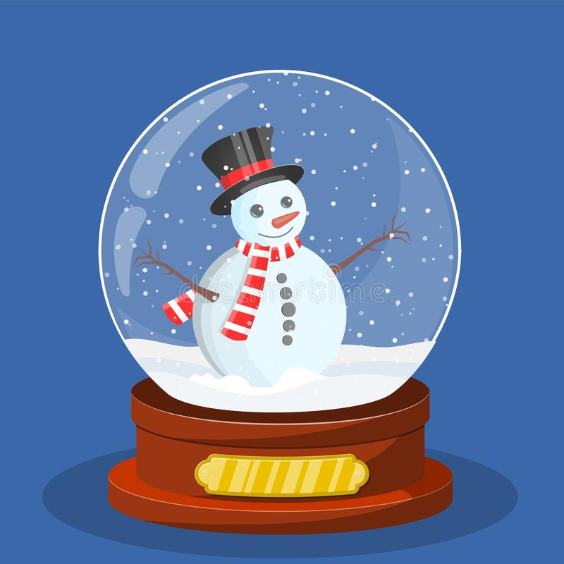 Snow glass globe with Christmas snowman vector illustration