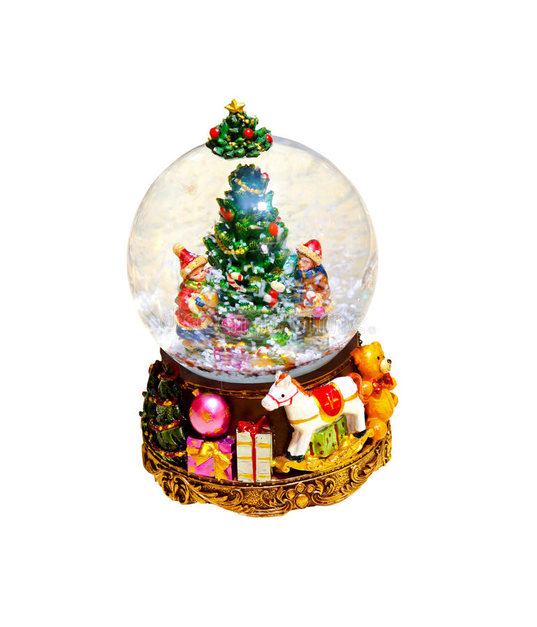 Snow globe. Christmas ornament isolated with clipping path included royalty free stock photography