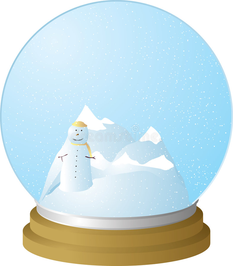 Snow globe. Scene with snowman and a landscape of mountains royalty free illustration