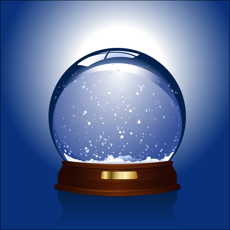Snow-globe. Realistic vector-illustration of an empty snow-dome against a blue background - customize by inserting your own object
