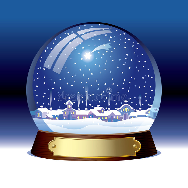 Snow globe. Isolated raster version of vector snow globe with a town within There is in addition a vector format (EPS 8 royalty free illustration