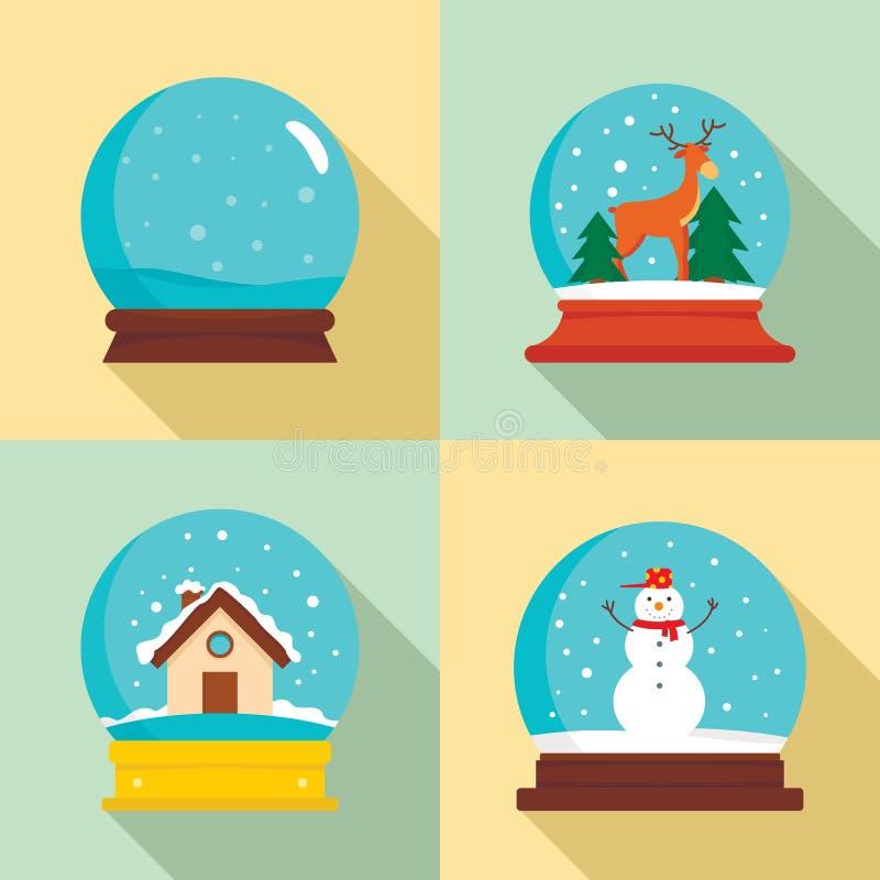 Snow globe ball christmas icons set, flat style stock illustration