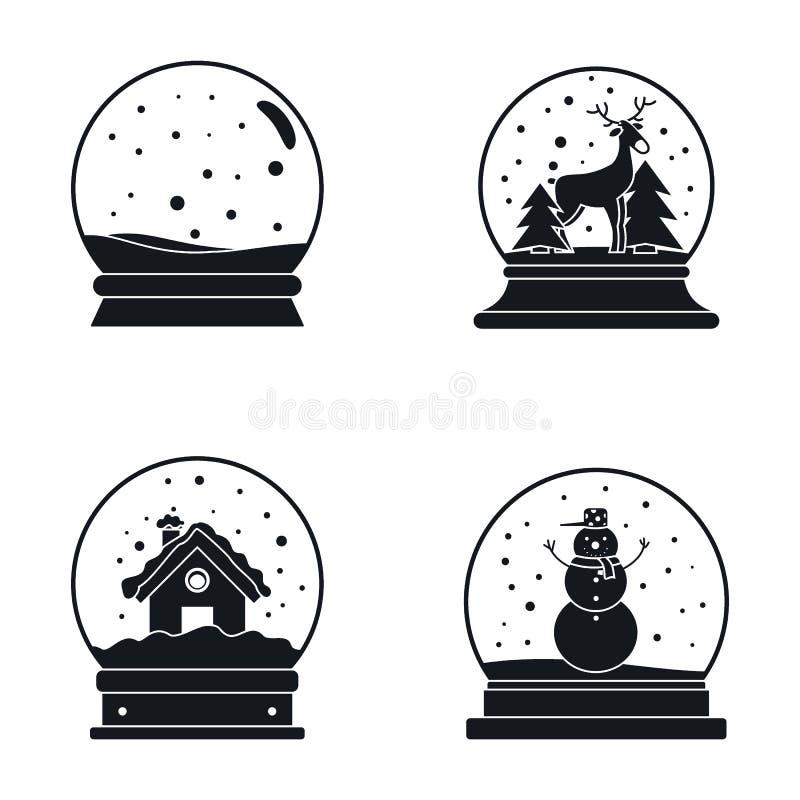 Snow globe ball christmas icons set, simple style royalty free illustration