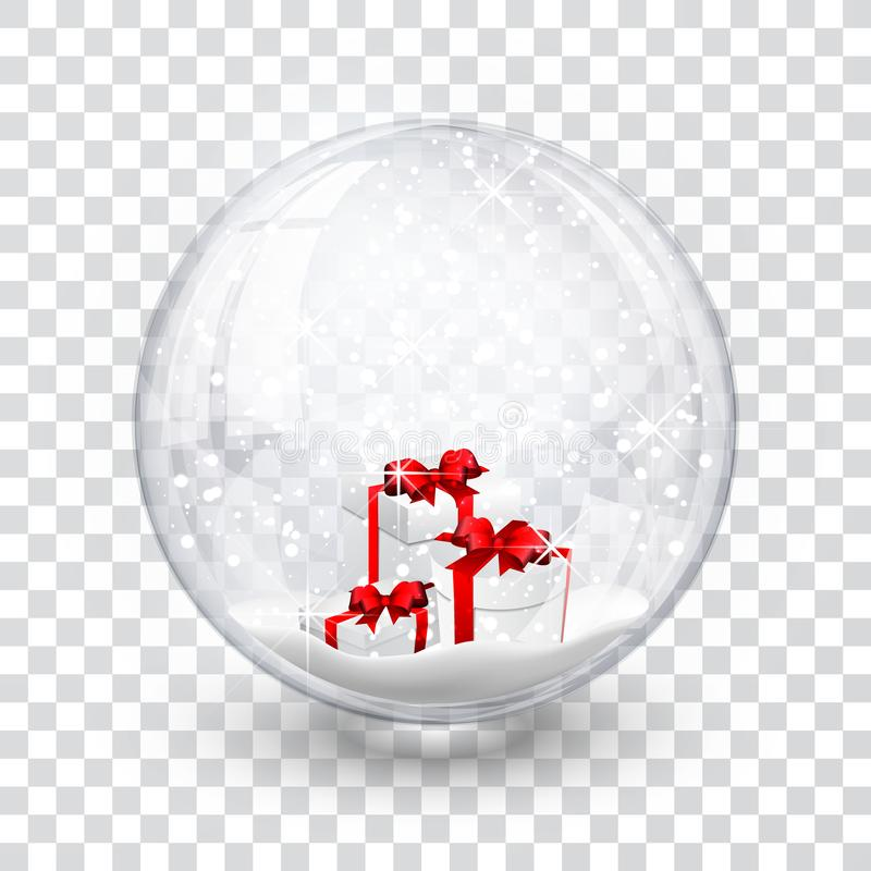 Snow globe ball with gift boxes realistic new year chrismas object isolated on transperent background with shadow, vector illustra royalty free illustration