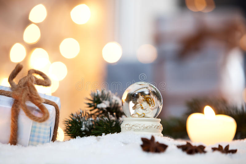 Snow globe. Between a christmas decoration royalty free stock photos