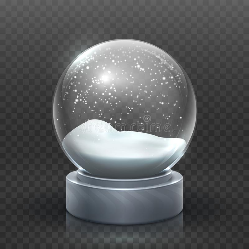 Snow globe. Christmas holiday snowglobe, empty glass xmas snowball. Snowy magic ball vector template. Sphere christmas ball, transparent toy bubble vector illustration
