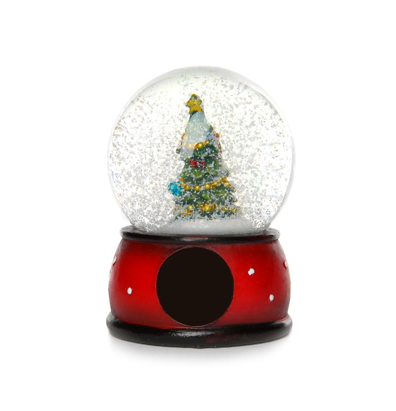 Snow globe with Christmas tree. Isolated on white royalty free stock images