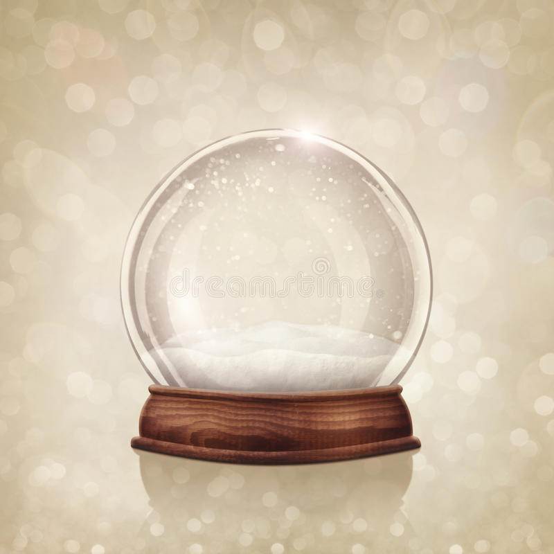 Snow globe. On a golden background stock photos