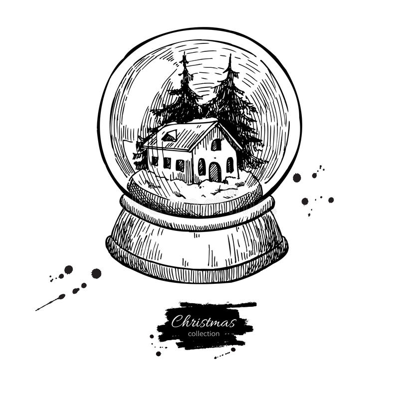 Snow globe with house and fir tree inside. Christmas vector hand royalty free illustration