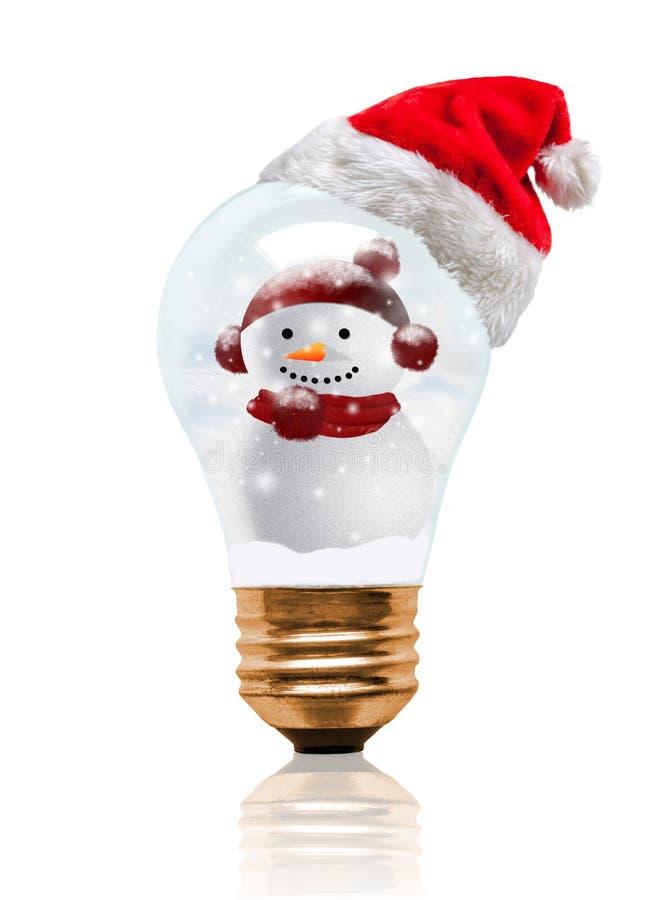 Snow Globe Light Bulb Snowman With Santa Hat royalty free stock photography