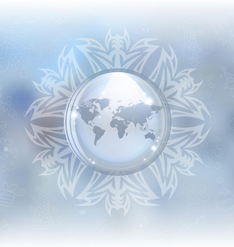 Snow globe with map royalty free illustration