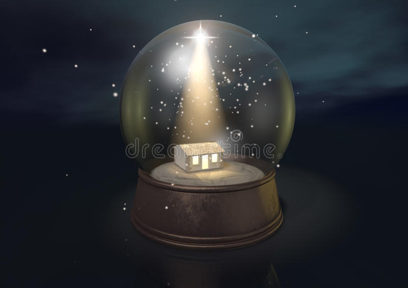 Snow Globe Nativity Scene Night. A regular snow globe depicting a shining star and the nativity stable in bethlehem on a blue starry sky background vector illustration