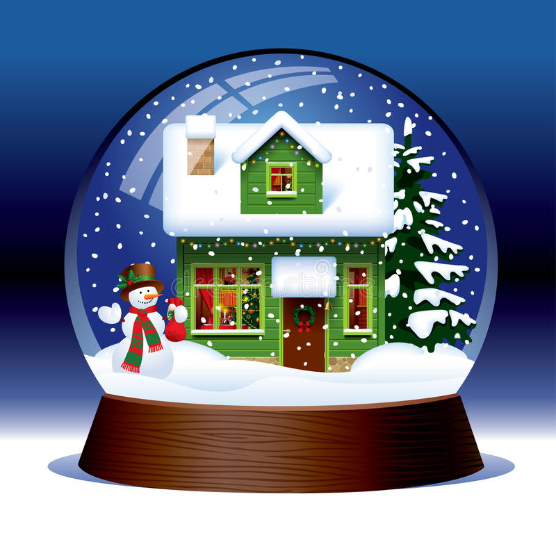 Download Snow globe stock vector. Image of card, wooden, greeting - 36582934