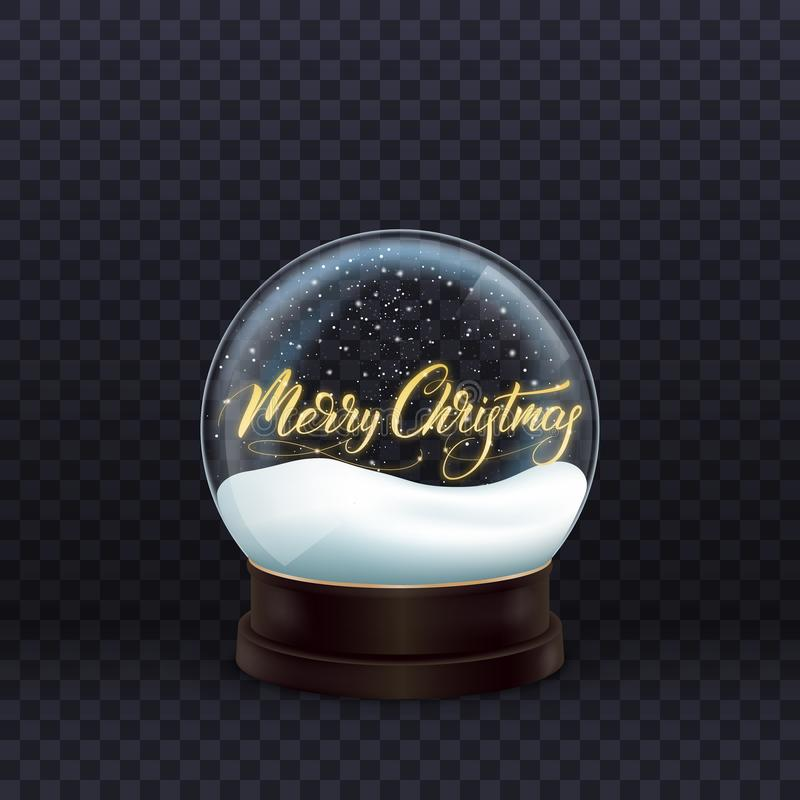 Snow globe. Realistic snow globe with gold Merry Christmas calligraphy. Crystal ball with snow royalty free illustration
