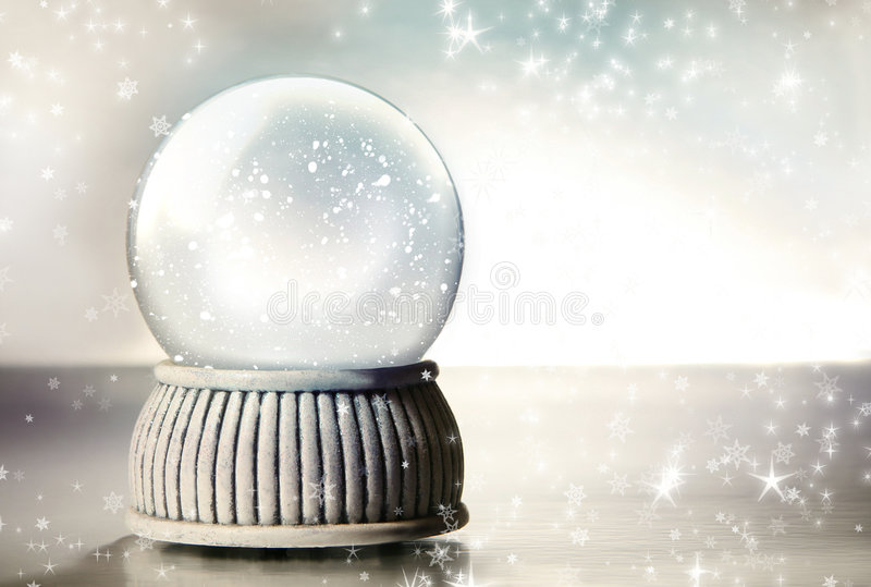 Snow globe with silver stars. Snow globe against a silver background royalty free stock photos